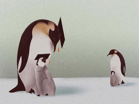 Illustration about meritocracy: one mother penguin and chick wear college mortarboards, while another mother penguin and her chick don't.
