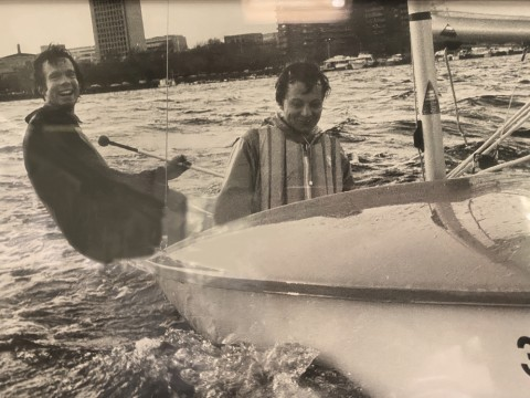 Jim Hammitt and a teammate sailing a Lark dinghy on the Charles River in 1976