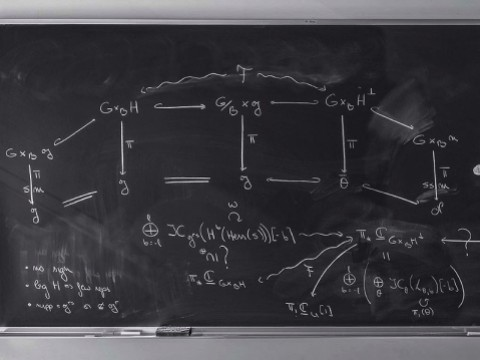 Photograph of a mathematician's blackboard, from the book Do Not Erase
