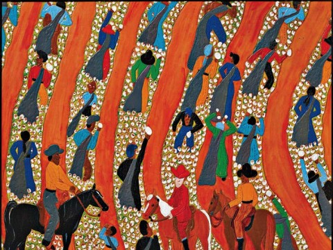 """The painting, """"Overseers in the Field #1"""" (2007), informed by Winfred Rembert"""