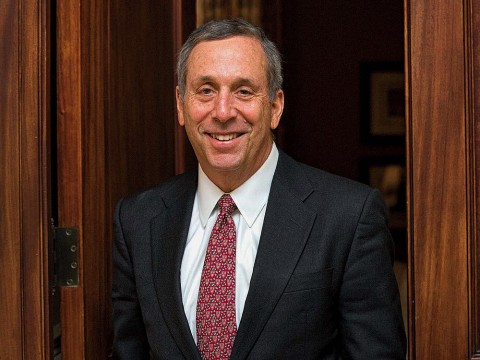 Photographic portrait of Harvard president Lawrence S. Bacow