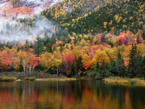 A lake next to a mountain with autumn foliage and fog