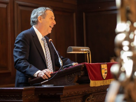 Photo of Harvard President Lawrence S. Bacow delivering Morning Prayers address.