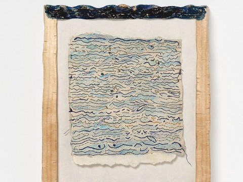 A framed drawing titled Accompanied: Two Views of the Sea, 2017-2020, by Marilyn Pappas and Jill Slosburg-Ackerman.