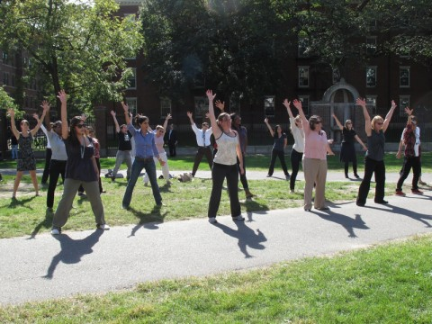 """Dancers rehearse for performance as part of a """"flash mob"""" in the University's 375th anniversary celebration on October 14."""