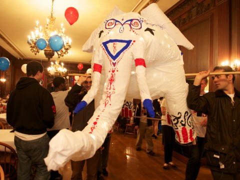 Students prepare the Eliot House elephant to appear in the 375th anniversary parade.
