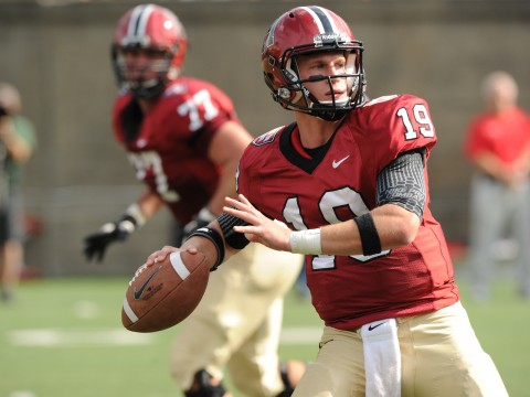 Quarterback Colton Chapple threw four touchdown passes in Harvard's 45-13 victory over Cornell. Receiver Andrew Berg caught three of them.