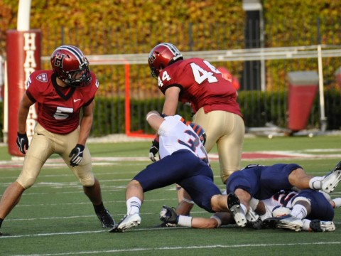 Off to the races: Tight end Kyle Juszczyk (44) shook off tacklers on a 59-yard pass play, giving Harvard a 28-0 halftime lead over Bucknell.