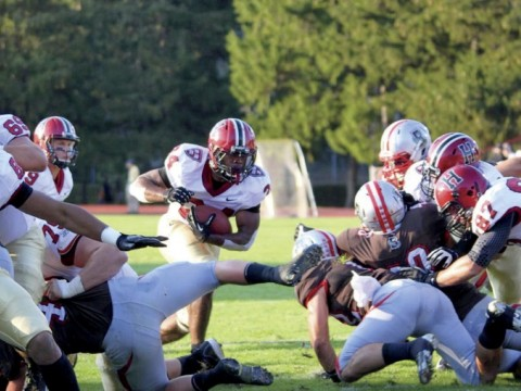 """Tailback Treavor Scales scored four touchdowns in a 45-31 slugfest at Brown. His offensive line, said Scales, opened holes """"as wide as an 18-wheeler."""""""