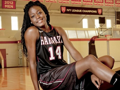 Olympian and Harvard sophomore Temi Fagbenle at Lavietes Pavilion, where women's basketball Ivy championship banners hang in profusion