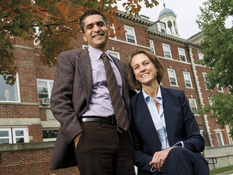 Rakesh and Stephanie Khurana of Cabot House, in front of their domain