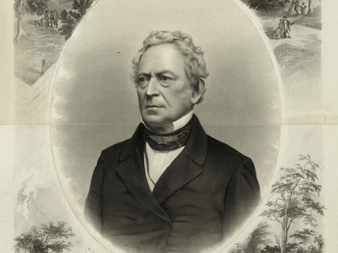 """J.C. Buttre&rsquo;s portrait, probably drawn when Everett ran for vice president on the Constitutional Union Party ticket in 1860, links him to Harvard and George Washington, one of his favorite subjects. (His lectures raised more than $100,000 to help purchase Mount Vernon [see <a href=""""http://harvardmagazine.com/2011/05/granny-talk"""">""""Granny Talk""""</a>], and he wrote the entry on Washington for the 1860 <i>Encyclopaedia Britannica.</i>)"""