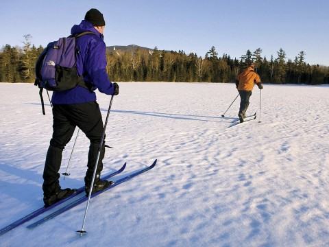 Back-country trails from the Appalachian Mountain Club's Little Lyford lodge in Maine have views of Baker Mountain.
