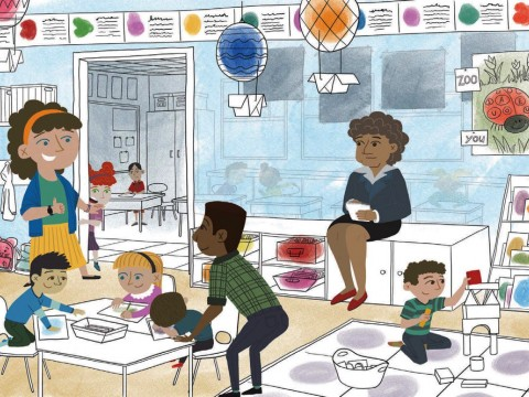An illustration of an elementary school classroom with two teachers and an observer