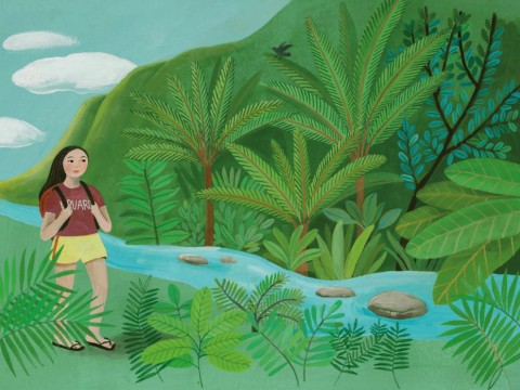 Painting of a young Korean-American woman in a Harvard T-shirt walking beside a stream in a lush, hilly Hawaiian landscape