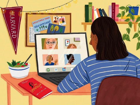 Drawing of a college student seated at her desk in her bedroom at home, looking at images of friends on her computer screen. On the desk are a book and a bowl of salad, reflecting recommendations made by friends previously.