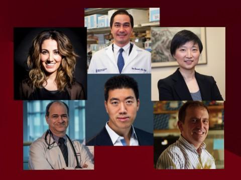 Headshot portraits of: Pardis Sabeti, Dan Barouch, Paul Ridker, David Liu, Xiaowei Zhuang, Marc Lipsitch.