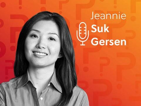 Jeannie Suk Gersen headshot over an orange background.
