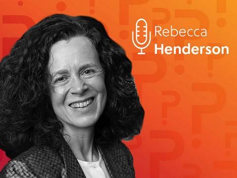 Rebecca Henderson headshot over an orange background
