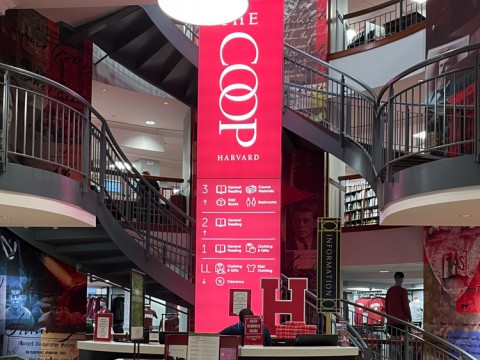 The staircase inside of Harvard COOP