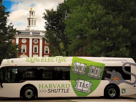 Photo of new Harvard campus shuttle electric bus