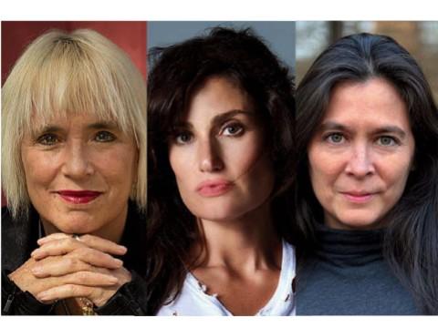 Three headshots: V (formerly Even Ensler), Idina Menzel, and Diane Paulus