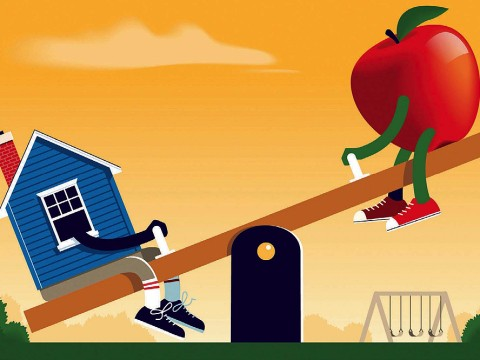 Illustration of a seesaw with a house on one end, and an apple, representing teaching, on the other.