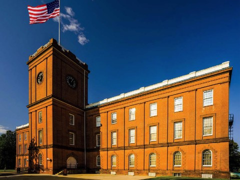 The red brick former arsenal built in 1850 that now houses the Springfield armory museum