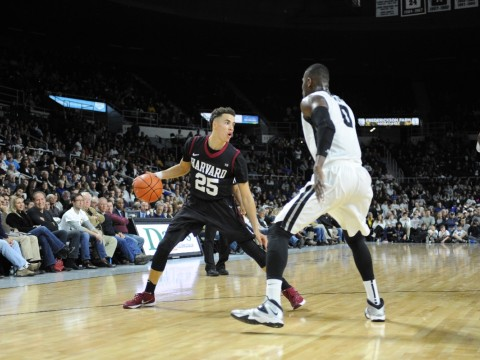 Freshman Corey Johnson sank five three-pointers against Providence on Saturday, the most by any Harvard player since then-senior Laurent Rivard sank six in 2014.