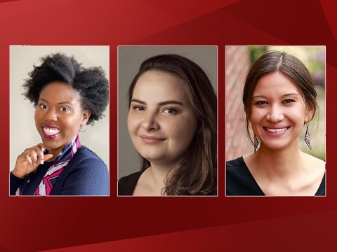 Photographs of Harvard Forward petition candidates for Board of Overseer: Yvette Efevbera, Natalie Unterstell, and Megan Red Shirt-Shaw
