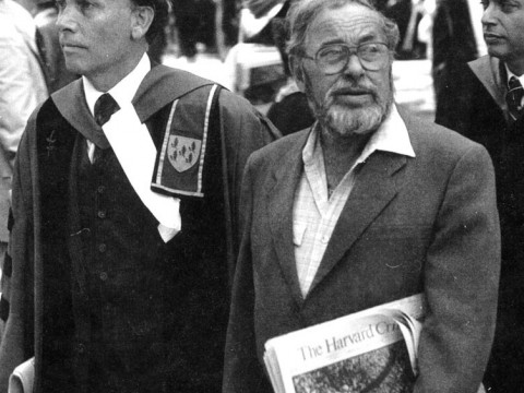 Robert Kiely escorts Tennessee Williams at Commencement in 1982.