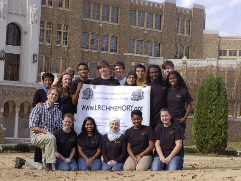 George West (far left) with his two faculty colleagues and the students of the Little Rock Central High Memory Project editing team