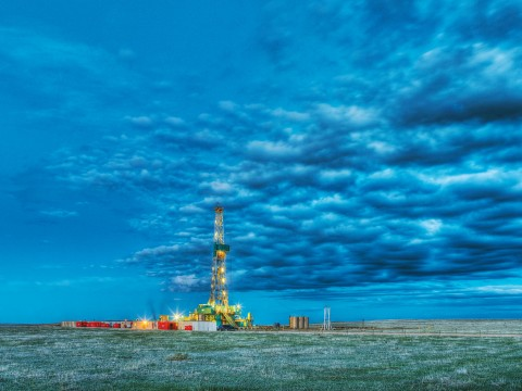 A hydraulic fracturing rig drilling for natural gas in eastern Colorado