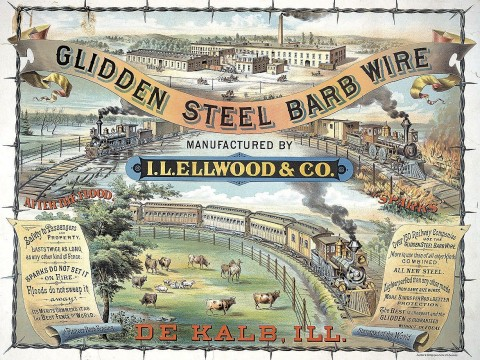 """The I.L. Ellwood Company used gleaming locomotives to highlight the advantages of its """"barb wire"""" fencing."""