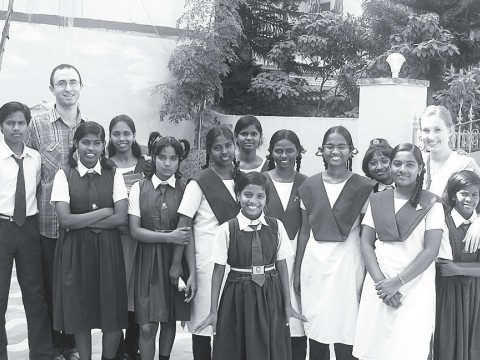 The Schachters with children they have helped in Chennai