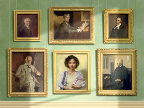 A wall of formal portraits, five representing white male Harvard faculty and administrators, one representing a black undergraduate woman