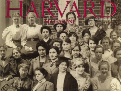 A composite of Radclife College classes through the years: 1896, 1912, 1931, and 1935 on the cover of the November-December 1999 issue of Harvard Magazine.