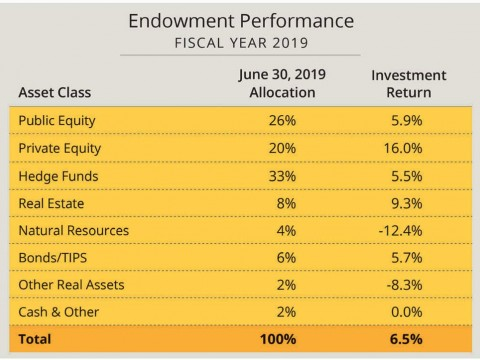 Harvard's fiscal year 2019 endowment returns by asset class