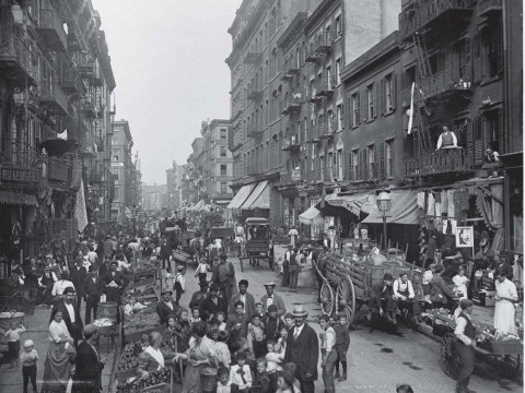 Photograph of American urban life, Mulberry Street, New York, c. 1900