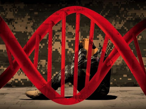 A double-helix image, in red, framing a man in military camouflage, crouched, seated, holding his head, and