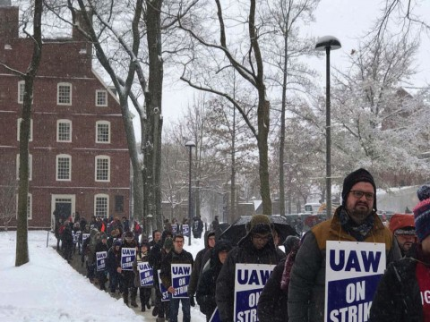 Photograph of Harvard graduate students during their strike