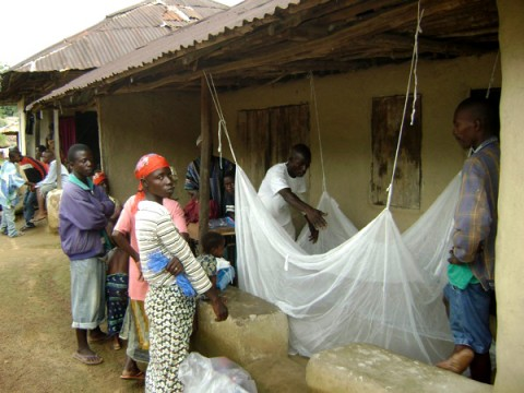 In Nganyahun village, a Red Cross volunteer and a community leader who work with GMin teach residents how to put up bed nets.