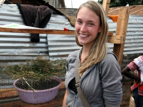 In Nairobi's Kibera slum last August, Elizabeth Nowak '10 worked with residents to build prototypes of VertiGrow, a vertical planter she designed with classmates in a Harvard course.