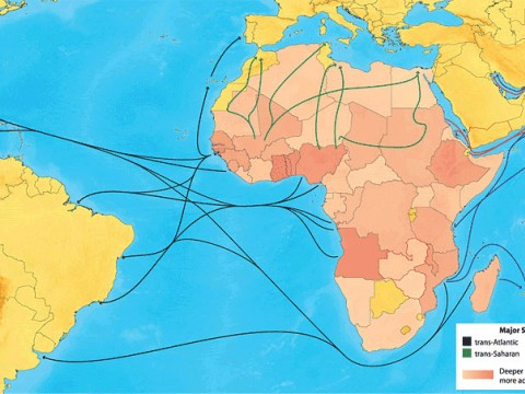 The slave trade shipped Africans to the Americas, the Middle East, and Asia; where victims ended up depended in part on which trade route their captors used. In total, the four routes ferried nearly 20 million people out of Africa.